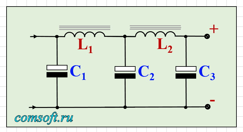 Схема сглаживающего фильтра блока питания