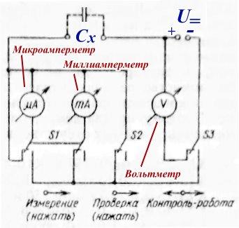 Схема устройства проверки конденсаторов для применения их в качестве переходных
