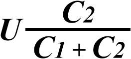 Формула для расчета напряжения U1 на первом конденсаторе