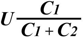 Формула для расчета напряжения U2 на втором конденсаторе